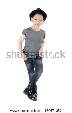 little smile boy with hat isolate on white background .  - stock photo