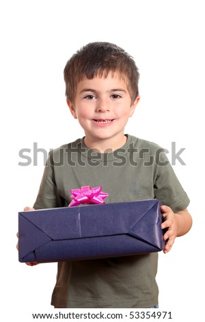 Little smiling Boy holding present box isolated on white - stock photo