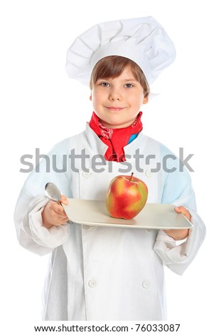 Little smiling chief-cooker with apple, isolated on white - stock photo