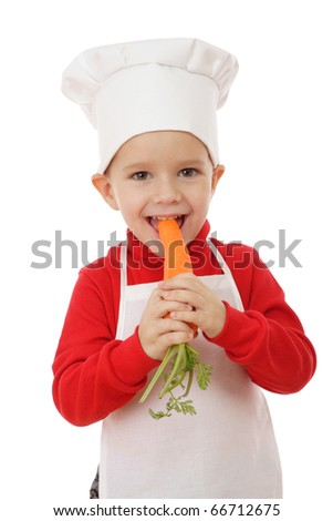 Little smiling chief-cooker with carrot, isolated on white - stock photo