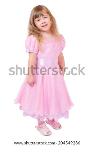 Little smiling girl in pink dress isolated - stock photo