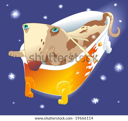 little spotted dachshund puppy flying in the retro bath. raster version