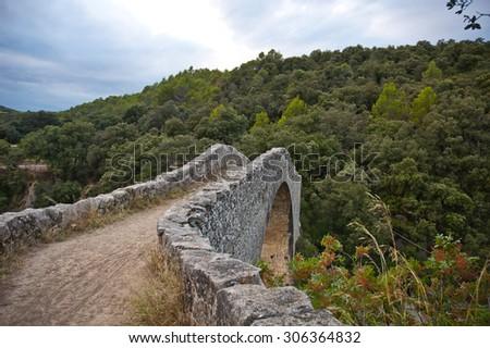 Little Stone bridge in Sadernes Catalonia Spain - stock photo