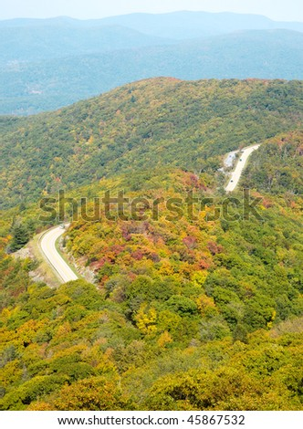 Little Stony Man view of rolling mountains in fall and skyline drive - stock photo