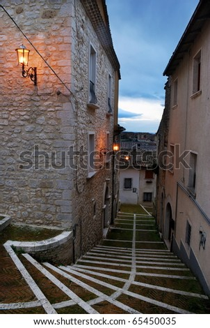 Little street in the old town of Campobasso in center Italy - stock photo