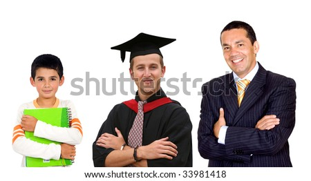 little student becoming a successful business man - stock photo