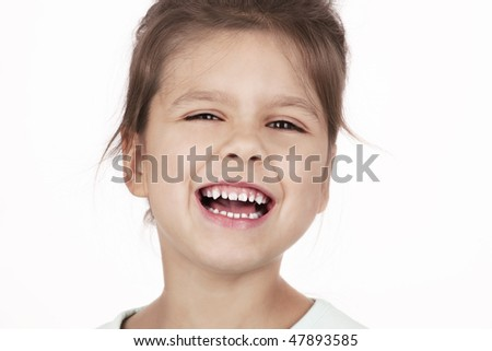 little successful laughing girl - stock photo