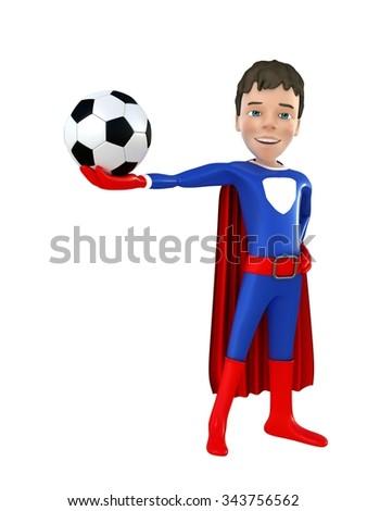 Little superhero shows the ball 3D render - stock photo
