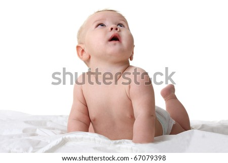 Little surprised baby looking up - isolated on white - stock photo