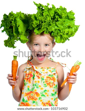 little sweet girl with a salad on her head isolated on white