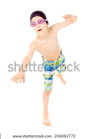 little swimmer boy isolated in white - stock photo