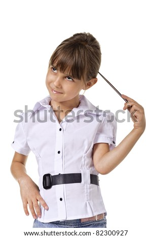Little teacher in white blouse standing and holding pointer. isolated on a white background - stock photo