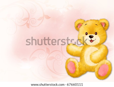 Little teddy bear by Freehand drawing. - stock photo