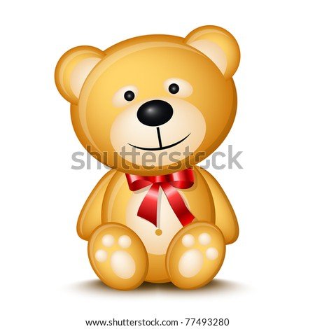 Little teddy bear isolated on white background - stock photo