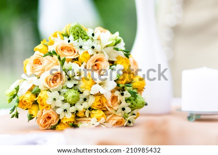little things of wedding ceremony with bouquet