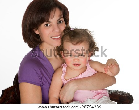 Little toddler girl sitting on her mother's lap