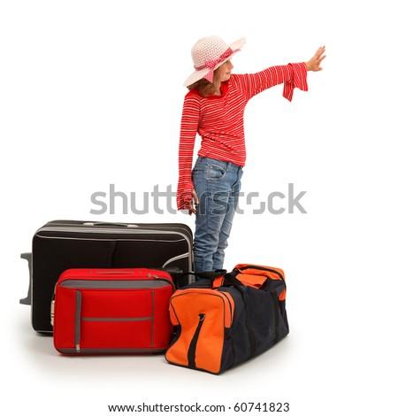Little traveler girl waving with hand - stock photo