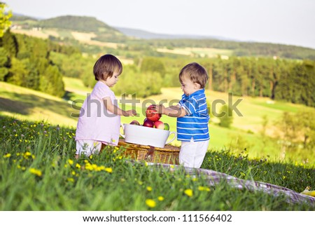 little twins on the meadow at sunny day - stock photo