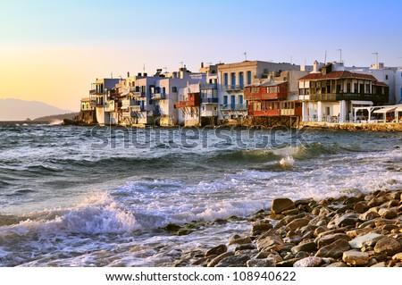 Little Venice at sunset, Mykonos, Greece. - stock photo