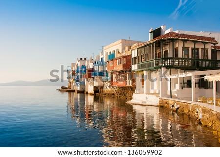 Little Venice at sunset on Mykonos Island in the Mediterranean Sea. Greece. - stock photo