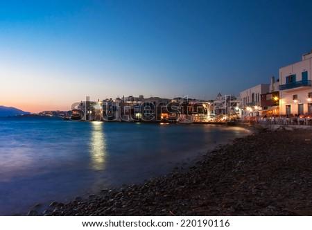 Little Venice in Mykonos island at night,Greece - stock photo
