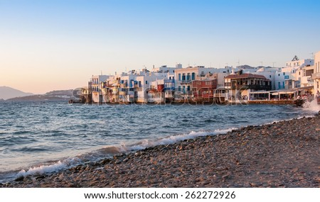 Little Venice in Mykonos island in the evening,Greece. - stock photo