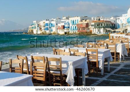 Little Venice, Mykonos Island, Greece - stock photo