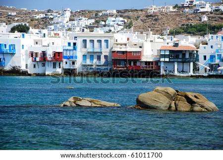 Little Venice, Mykonos Island, Greece, greek colours - stock photo