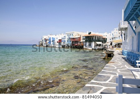Little Venice of Mykonos - stock photo