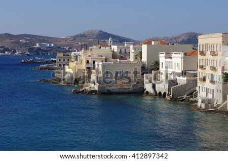 Little Venice of Syros island, Greece.