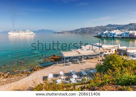 Little Venice on Mykonos Island, Cyclades, Greece - stock photo