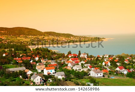 Little village in sunrise at Lake Balaton, Hungary - stock photo