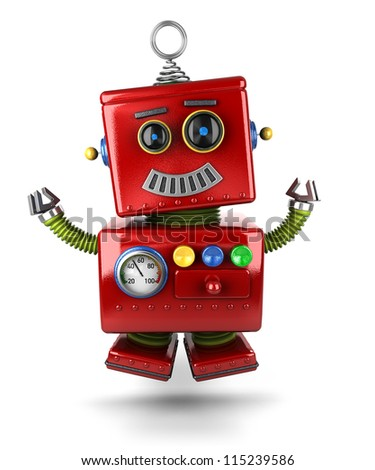 Little vintage toy robot jumping of joy over white background - stock photo