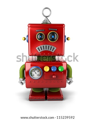 Little vintage toy robot that is sad over white background