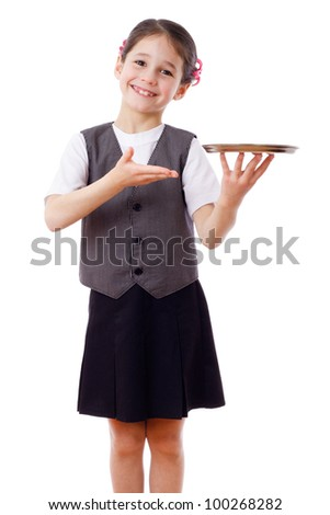 Little waitress standing with empty tray, isolated on white