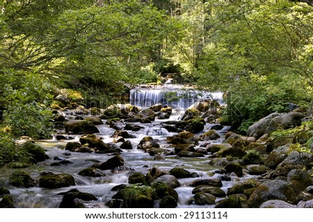 little waterfalls of a river - stock photo