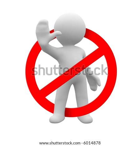 Little white people that STOP you from doing the wrong - stock photo