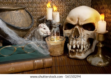 Little white rat in a halloween scene - stock photo