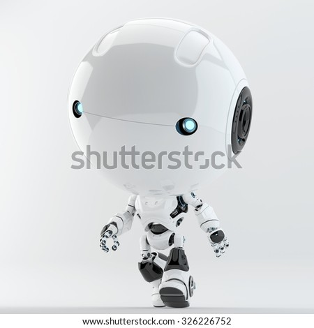 Little white walking toddler robot. Remotely controlled robotic toy - stock photo