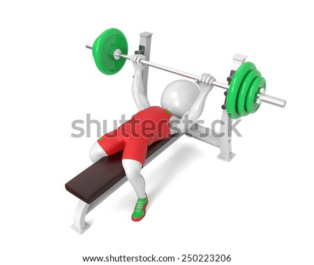 Little white  weight-lifter - stock photo