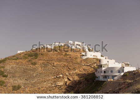 Little withe house in the hill in Greece - stock photo