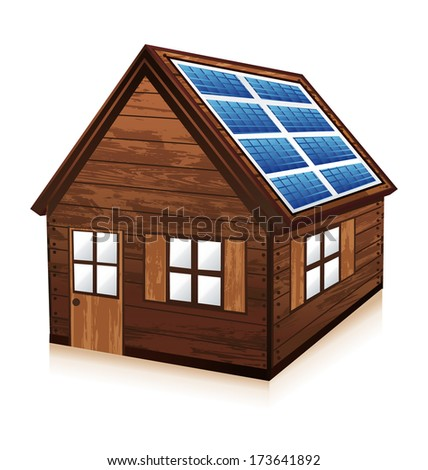 Little wooden chalet. House with solar panels.  - stock photo