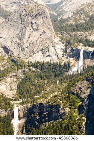 Little Yosemite Valley, Liberty Cap, Nevada Falls and Vernal Falls - stock photo