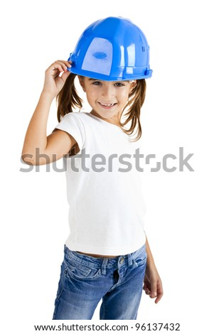 Little young girl wearing a protection helmet, isolated on white background - stock photo