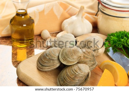 Littleneck clams arranged with ingredients for preparing baked clams - shellfish are a delicious meal but also a represent a dangerous food allergen - stock photo