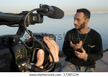 Live Acting Skills Of An Anchorman - stock photo