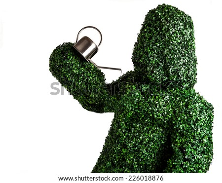 Live bush pose holding garden watering can, isolated on a white background. Studio photo.  - stock photo