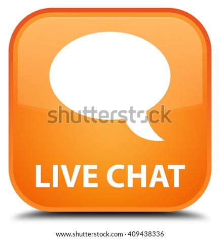 Live chat orange square button - stock photo