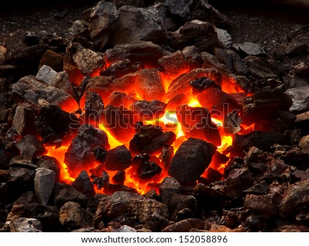 Live coal - stock photo