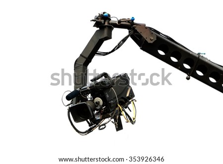 Live event video camera on crane over white - stock photo